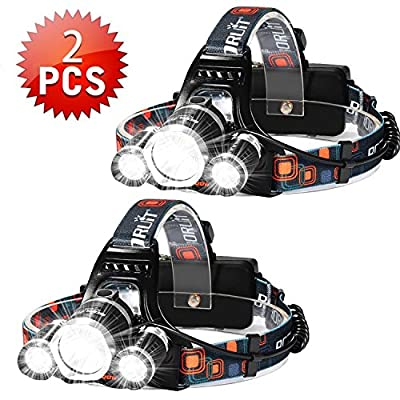 Brightest 6000 Lumen Led Headlamp Flashlight,Super Bright Fishing Head Lamp?Waterproof Hard Hat Light,Improved Led with Rechargeable Batteries for Reading Outdoor Running Camping Walking?2PCS Silver?