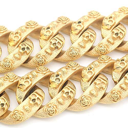MUJING 30 mm Wide Hip Hop Gold Tone Cut Curb Cuban Link 316L Stainless Steel Dog Choke Chain Collar 40-70 cm,XXXL by MUJING (Image #3)