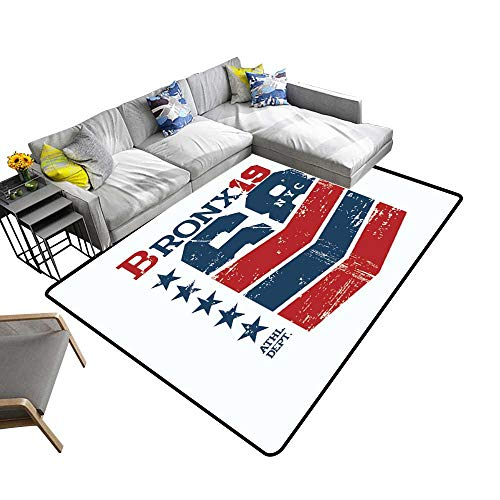 Modern Area Rug with Non-Skid Theme New York City Bronx Vintage Design Grunge backgroun Environmental Protection Fabric 6' X -