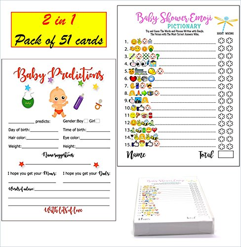 Baby Shower Games - Emoji Pictionary and Advice Prediction Card, 51 Cards, Fun Game for Girls Boys Gender Neutral Ideas for Shower Party, Prizes for Game Winners, Favorite adults Games for Baby Shower