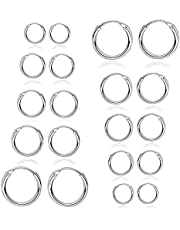 10 Pairs Small Hoop Earring Set for Women Men Girls Lightweight Click-Top Stainless Steel Cartilage Earring Endless Hypoallergenic 10-20MM