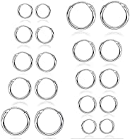 10 Pairs Small Hoop Earring Set for Women Men Girls Lightweight Click-Top Stainless Steel Cartilage Earring En