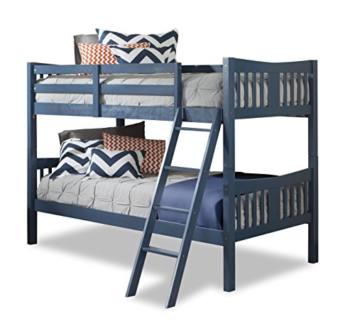 (Storkcraft Caribou Solid Hardwood Twin Bunk Bed, Navy Twin Bunk Beds for Kids with Ladder and Safety Rail)