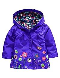 Mallimoda Baby Girls Hooded Jacket Coat Waterproof Raincoat Outerwear