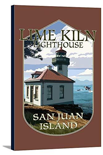 San Juan Island, Washington - Lime Kiln Lighthouse Day Scene - Contour 99066 (12x18 Gallery Wrapped Stretched Canvas)