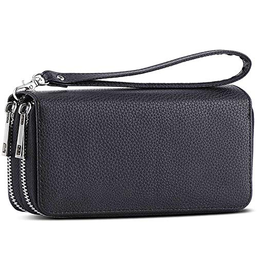(Double Zipper Long Clutch Wallet Cellphone Wallet for Women with Hand Strap for Card, Cash, Coin, Bill)