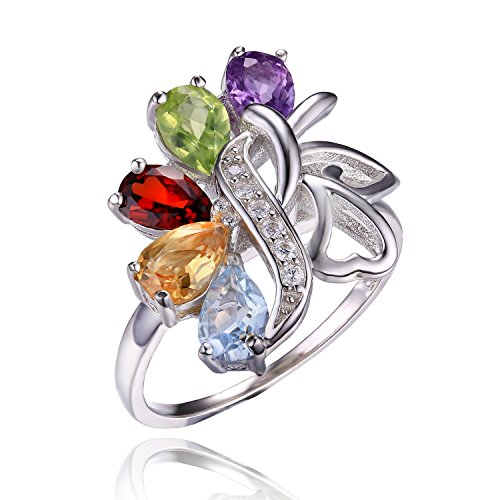 JewelryPalace Amethyst Garnet Peridot Citrine 925 Sterling Sliver Dangle Rings Size 8