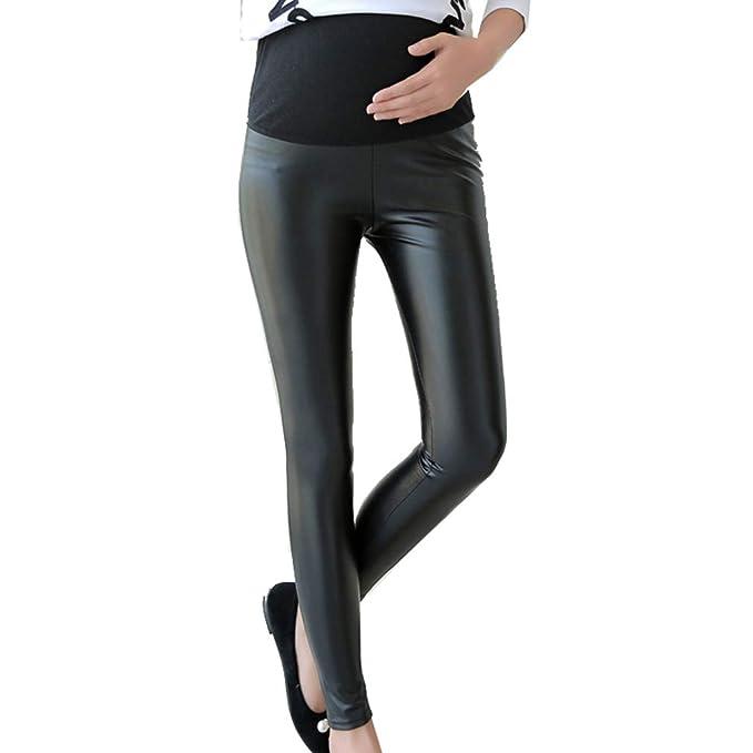 7ffcdfd28 Pantalones Embarazada Leggings Premama Negros Cuero Maternidad Pantalones  Elasticos Leggings  Amazon.es  Ropa y accesorios