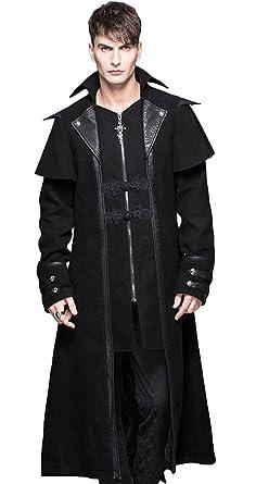 Devil Fashion Manteau Long Noir Classe avec Broderies, Effet