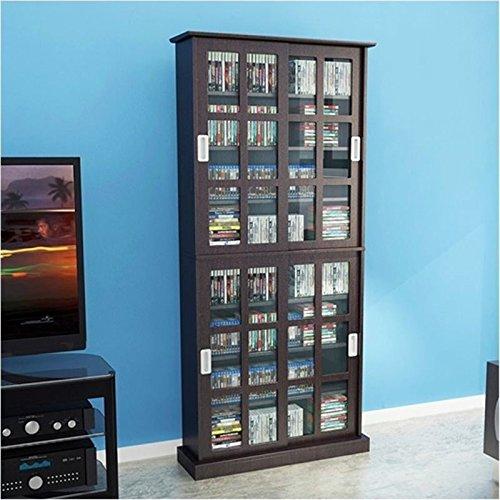 Bowery Hill 72'' Windowpane Media Cabinet in Espresso