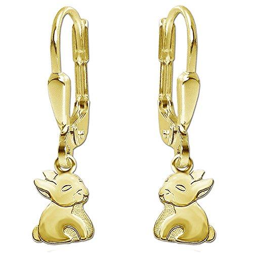CLEVER SCHMUCK Boucles d'oreilles pendantes plates Motif lapin En véritable argent 925plaqué or mat et brillant