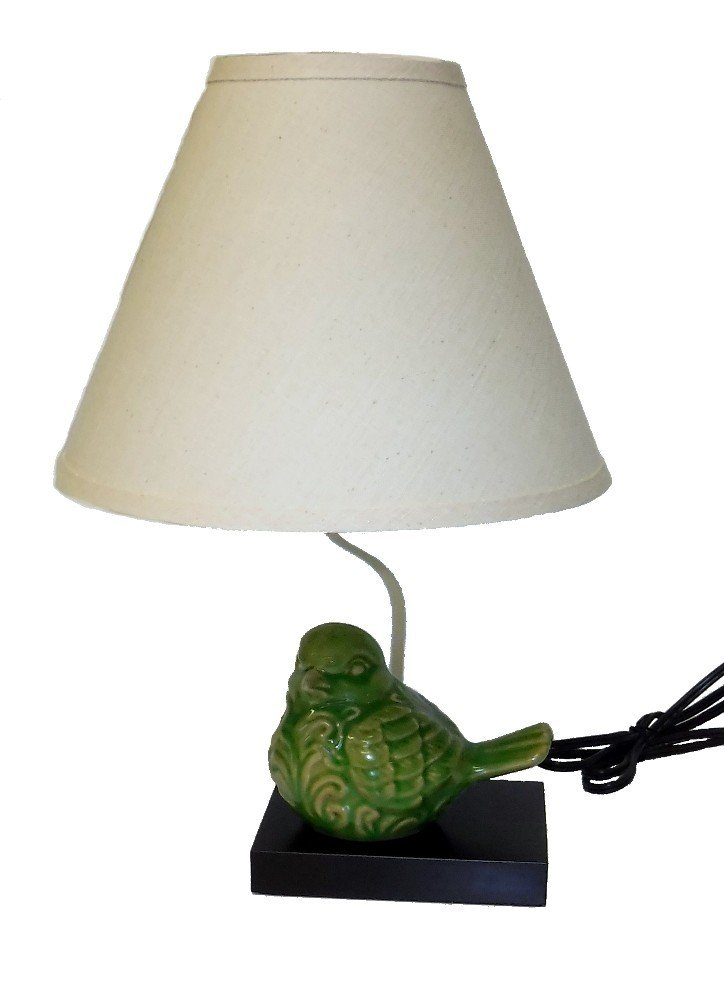 Moss Green Ceramic Bird Table Lamp with Matching Shade 17.5''H