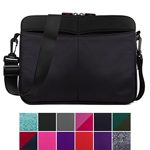 Kroo 12-13 Inch Laptop Sleeve Tablet Bag, Water Resistant Neoprene Notebook Computer Carrying Cover for MacBook, Microsoft Surface, Chromebook (Black) ()