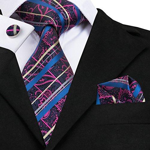 Fashion Neck Tie Set - Dubulle Mens Silk Ties Paisley Fashion Necktie Set with Handkerchief Cufflinks Jacquard Woven Wedding Ties Set with Pocket Square