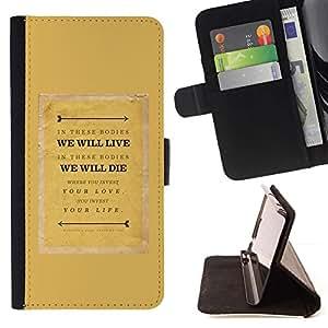 For Sony Xperia Z1 L39 Case , Citar Texto motivación Mostaza- la tarjeta de Crédito Slots PU Funda de cuero Monedero caso cubierta de piel