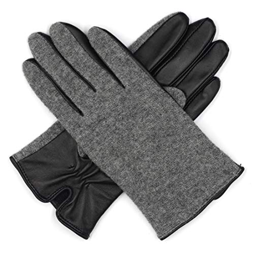 (Harssidanzar Womens Knitting Wool+Lambskin Leather Gloves Tricot Lined Touchscreen )