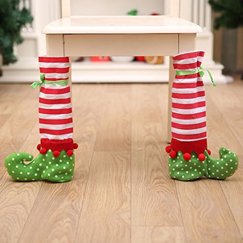 Xmas Elf Costumes (Iuhan Elf Foot Chair Table Leg Covers Xmas Party Christmas Table Home Decorations)