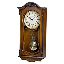 Bulova C3542 Cranbrook Beige Dial Walnut Hardwood Pendulum Harmonic Chime Wall Clock