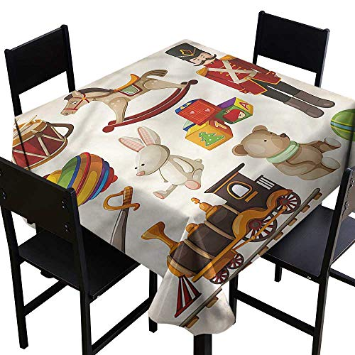 haommhome Dustproof Square Tablecloth Kids Wooden Toy Rocking Horse Drum Table Decoration W36 xL36 Waterproof/Oil-Proof/Spill-Proof Tabletop ()