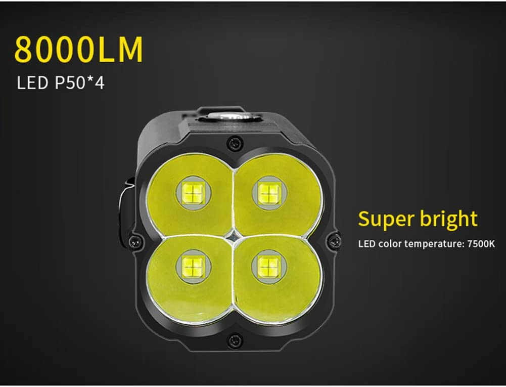 8000 Lumens 80W LED Flashlight with USB Rechargeable Super Power Aluminum Alloy Mobile Flashlight, Super Bright 500M Search Lighting Flashlight B