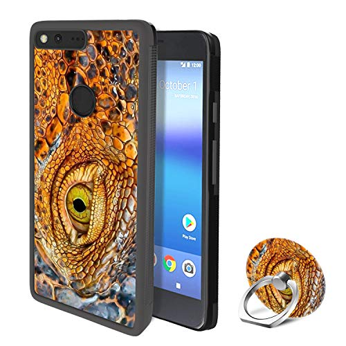 - YQCi Compatible with Google Pixel 360 Full Body Slim Cover Soft Flexible TPU Protector Skin with Ring Holder Stand for Google Pixel-Crocodile Eyes