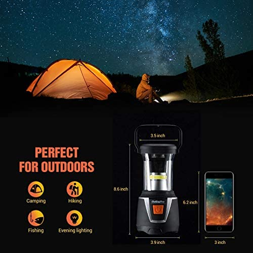 LED Camping Lantern, OutingPro COB Light Ultra Bright Battery Operated Brightness Adjustable Lamp with SOS Function Waterproof Portable Hanging Flashlight for Emergencies, Outdoor, Hurricanes, Outages