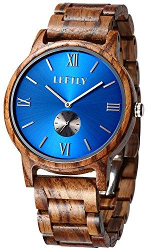 LEFTLY Mens Wooden Watch Handmade Wood Band Lightweight Miyota Movement Quartz Wrist Watch