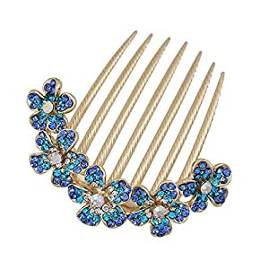 Gold Finish 5 Flowers Blue Rhinestone Floral French Twist Comb