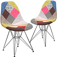 Flash Furniture 2 Pk. Elon Series Milan Patchwork Fabric Chair with Chrome Base