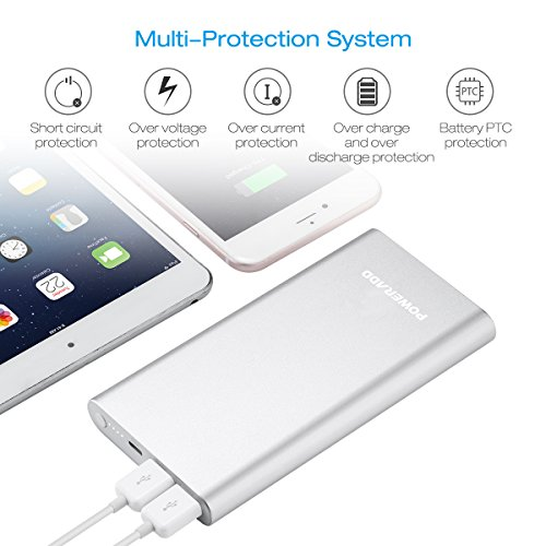 Poweradd Pilot 4GS 12000mAh Apple Lightning Portable Power Bank External Battery Charger with 3A High-Speed Output for iPhone, iPad, iPod, Samsung and More - Silver (Apple 8-Pin Cable Include)