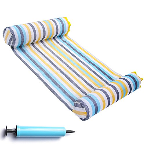 FindUWill Hammock Float Portable Swimming Pool Lounger with Inflatable Water Pillow ()