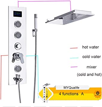 ACZZ Acero inoxidable Led Panel de ducha Columna Combinación libre ...