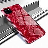 iPhone 11 Pro Max、iPhone 十一 Pro Maxハードケース、SevenPanda キラキラシェル用の強化ガラスバックケースパターン描きましたハード鏡ソフトTPUバンパーカバープロテクターiPhone 11 Pro Max 6.5インチ用 - レッド