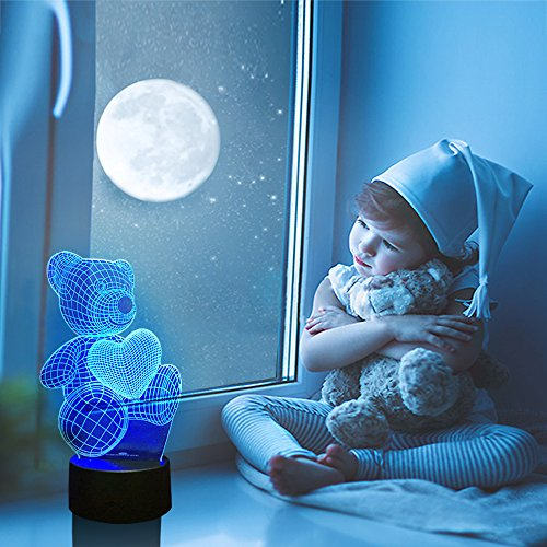 Night Lights for Kids Teddy Bear 7 Colors Change with Remote 3D Nightlight Help Kids Fell Safe at Night or As A Gift Idea for Women or Girls by Easuntec (Teddy Bear Heart) by Easuntec (Image #1)