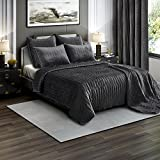 Brielle Premium Heavy Velvet Quilt Set with Cotton Backing, King, Charcoal