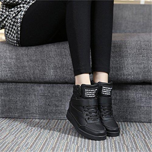 para Cuña Wedges Negro Elevador Blanco Interior UBFEN Negro Rosa Talón Plataforma Deportivos Zapatos de Botas Zapatillas Botines Sneakers Alta Mujer 7cm 1qwEatR