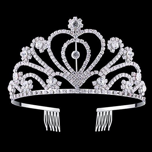 BABEYOND Rhinestone Crystal Tiara Crown Wedding Bridal Prom Headband Comb Pin (Style1)