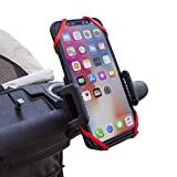 Abacus24-7 Baby Stroller Phone Holder Accessory [or Bike Handle - Bicycle Handlebar Cell Phone Mount] Fits iPhone X - 8 - 7 - 6 Plus - Samsung Galaxy S8 - S7 - Note 8 - 9 - 9 PLUS and more