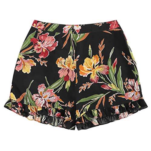 (JOFOW Shorts Womens Boho Flowers Leaves Floral Print Ruffle Casual Loose Mini Pants Beach High Waist A Line Chic Trouser Gift (L,Black))