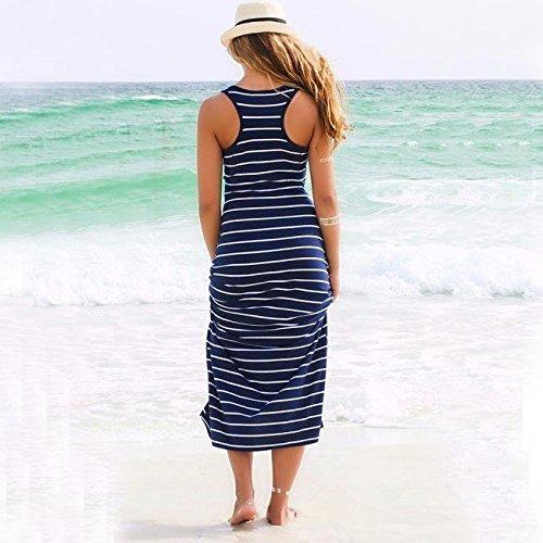 Strisce Blu Prendisole Casuale Maniche Dalla Donne Allentato Lungo Creazy A Del Partito Senza Spiaggia OxfwqqH1p
