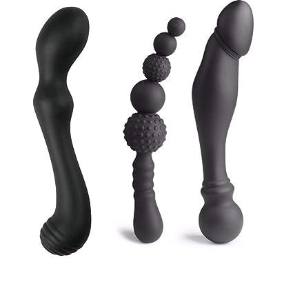 3 Tamaño Elegir Silicona Anal Plug Doble Cabeza Consolador Anal Butt Plug Perlas de Dilatador Anal