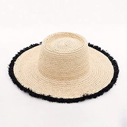 cba71cd1 Amazon.com : ALWLj Women Boater Hats Natural Raffia Straw Hat Summer Beach Sun  Hats for Girls : Sports & Outdoors