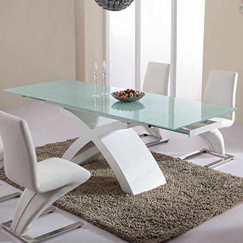 Mesa para comedor cristal, color blanco: Amazon.es: Hogar