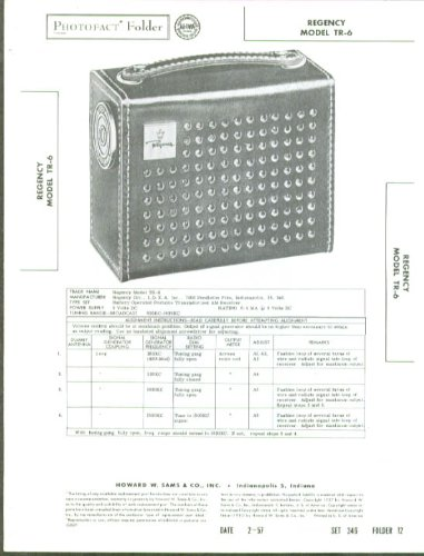 Regency Model TR-6 Portable Radio Photofact Folder 1957 (Model Regency)