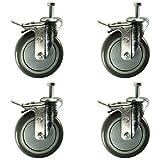 5 Inch Total Lock Caster - Polyurethane Wheel - 1/2''-13 x 1-1/2'' Threaded Stem Set of 4