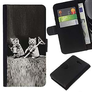 KLONGSHOP // Tirón de la caja Cartera de cuero con ranuras para tarjetas - Gatitos lindos Negro divertido Amor Blanca - Sony Xperia M2 //