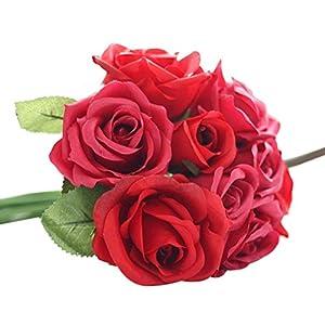 Fake Flowers,Neartime 9 Heads Artificial Rose Silk Leaf Wedding Home Decor (Red) 56