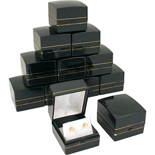 12 Black Gold Sparkle Earring Classy Gift Jewelry - Sparkle Gift Box
