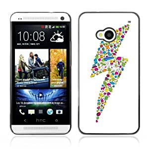 Designer Depo Hard Protection Case for HTC One M7 / Cute Characters Colorful Lightning