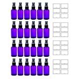 Purple 2 oz Boston Round PET Bottles (BPA Free) with Black Fine Mist Sprayer (24 pack) + Labels